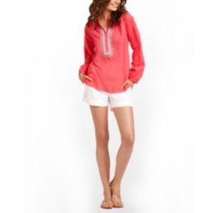 Lilly Pulitzer Elsa coral embroidered tunic